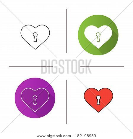 Heart with keyhole icon. Flat design, linear and color styles. Valentine's Day symbol. Isolated vector illustrations