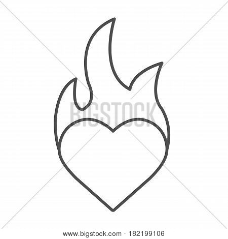 Burning heart linear icon. Passion. Thin line illustration. Heart on fire contour symbol. Vector isolated outline drawing