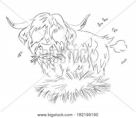 Cartoon image of hairy cow farting. An artistic freehand picture.