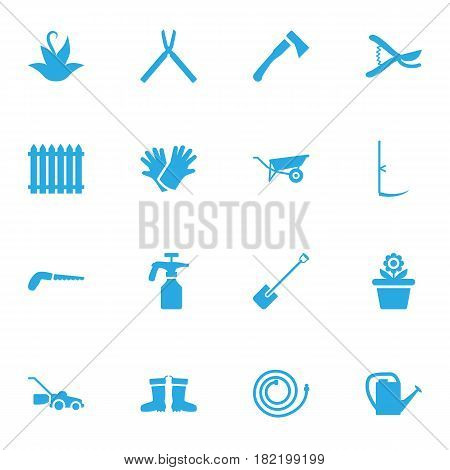 Set Of 16 Farm Icons Set.Collection Of Flowerpot, Garden Hose, Rubber Boots And Other Elements.