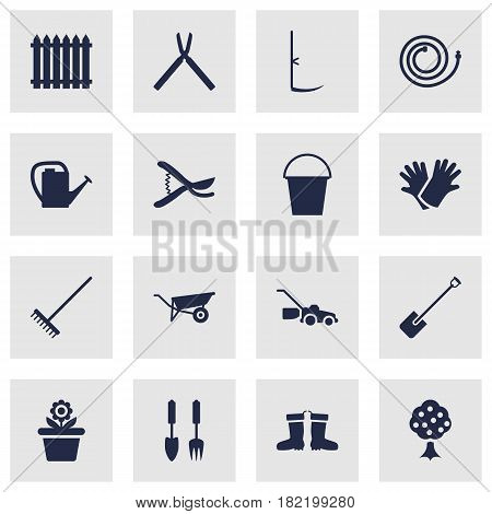 Set Of 16 Horticulture Icons Set.Collection Of Garden Hose, Rake, Pruner And Other Elements.