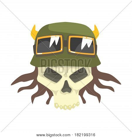 Scull In Green Helmet With Shades, Colorful Sticker With War And Biker Culture Attributes Vector Icon. Creepy Dead Chost Rider Head Print Cool Cartoon Illustration.