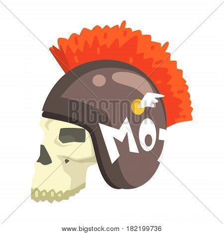 Scull In Helmet With Mohawk, Colorful Sticker With War And Biker Culture Attributes Vector Icon. Creepy Dead Chost Rider Head Print Cool Cartoon Illustration.