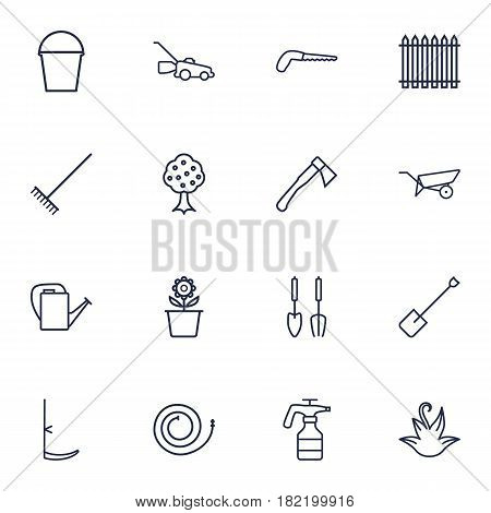 Set Of 16 Farm Outline Icons Set.Collection Of Herb, Hatchet, Harrow And Other Elements.