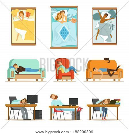 People Sleeping In Different Positions At Home And At Work, Tired Characters Getting To Sleep Set Of Illustrations. Man And Women Taking A Nap Wherever They Can Resting And Feeling Relaxed.