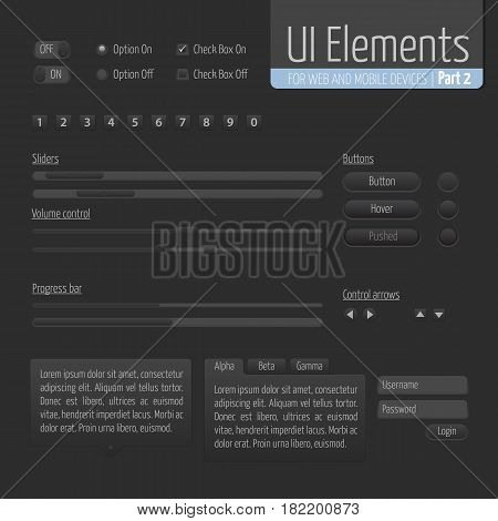Dark UI Elements Part 1: Sliders, Progress bar, Buttons, Authorization form, Volume control etc.