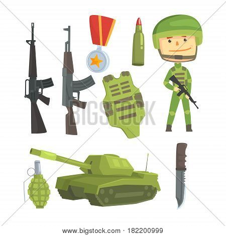 Soldier and professional army weapon, set for label design. Colorful cartoon detailed Illustrations isolated on white background