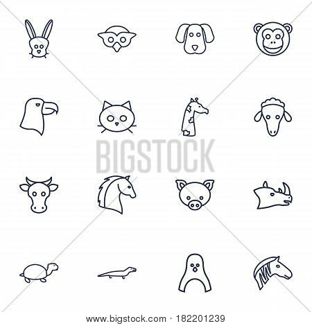 Set Of 16 Brute Outline Icons Set.Collection Of Horse, Penguin, Eagle And Other Elements.
