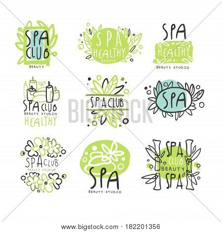 SPA club set for label design. Health and beauty care. Colorful vector Illustrations for healthcare, beauty center, spa and wellness, beauty salon, shop, resort, boutique