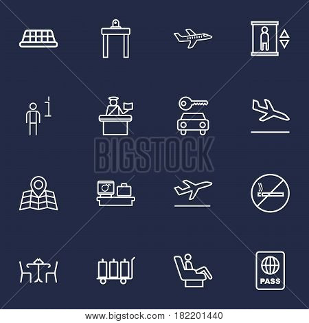 Set Of 16 Airplane Outline Icons Set.Collection Of Data, Flight, Cafe And Other Elements.