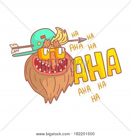 Crazy mature punk rocker with arrow in his head. Colorful cartoon illustration isolated on a white background