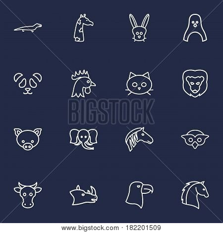 Set Of 16 Brute Outline Icons Set.Collection Of Cow, Pig, Elephant And Other Elements.
