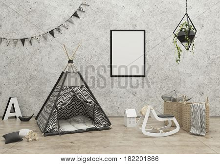 kids game room interior image with a wigwam. 3D Rendering