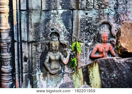 Bas reliefs in Preah Khan in Angkor Archaeological area in Cambodia