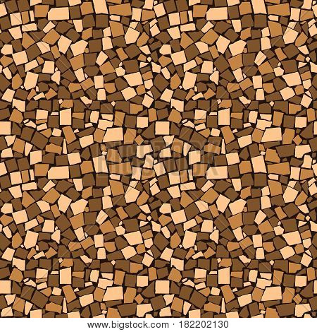 Seamless Texture Of Brown Asymmetric Decorative Tiles Wall