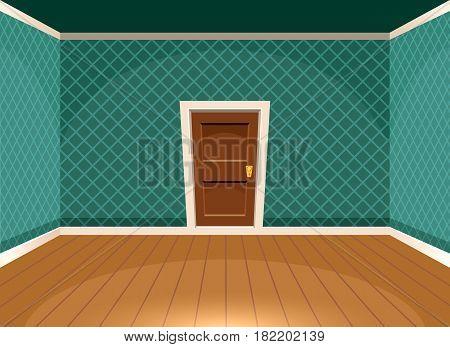 Cartoon Empty Room With A Door In Vintage Style