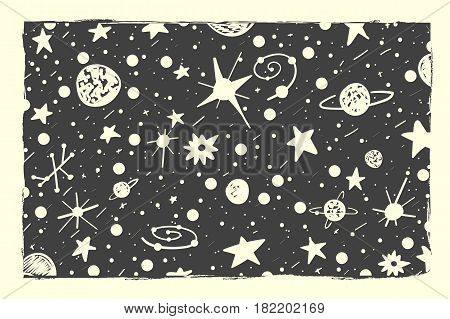 Hand Drown Scratch Style Night Sky Background. Space, Stars And Planets
