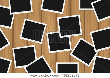 Background Of Realistic Photo Frames On Brown Wooden Texture. Template Retro Photo Design