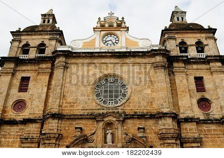 Colombia. Cartagena - the colonial city in Colombia is a beautifllly set city packed with historical monuments and architectural treasures. The picture present Iglesia de San Pedro Claver