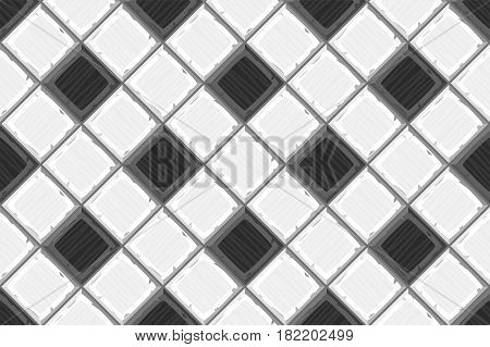 Cartoon Hand Drown Black And White Old Diagonal Seamless Tiles Texture