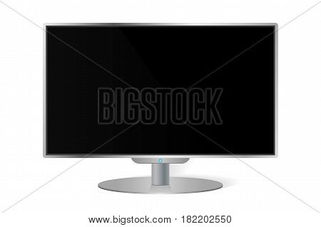 Realistic modern TV monitor isolated on white