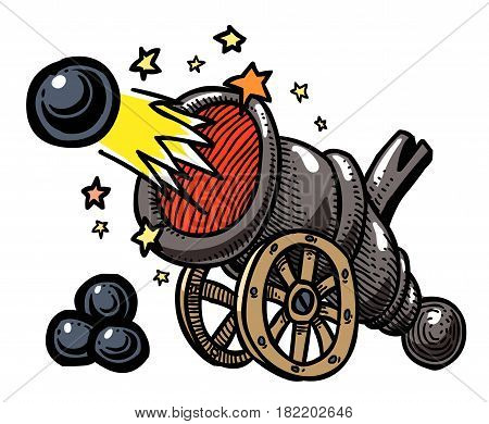 Cartoon image of big cannon firing. An artistic freehand picture.