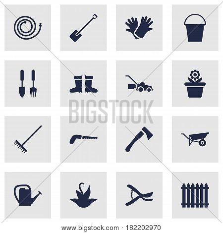 Set Of 16 Household Icons Set.Collection Of Latex, Wheelbarrow, Axe And Other Elements.