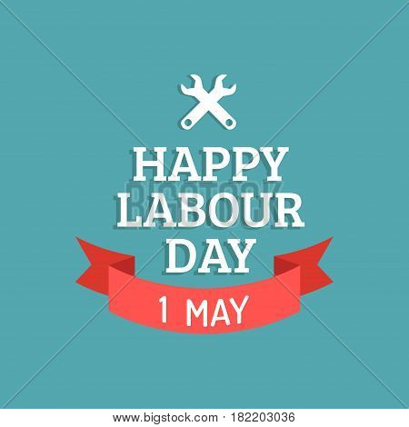 Happy Labour Day illustration concept with wrenches.1st of may vector background. International Workers day logo design for greeting card, festive poster, banner.