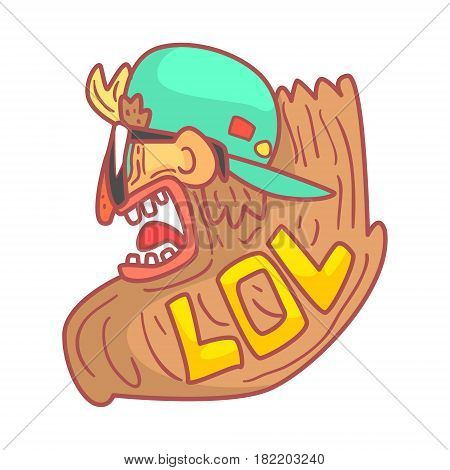 Image of crazy punk rocker, side view. Colorful cartoon illustration isolated on a white background