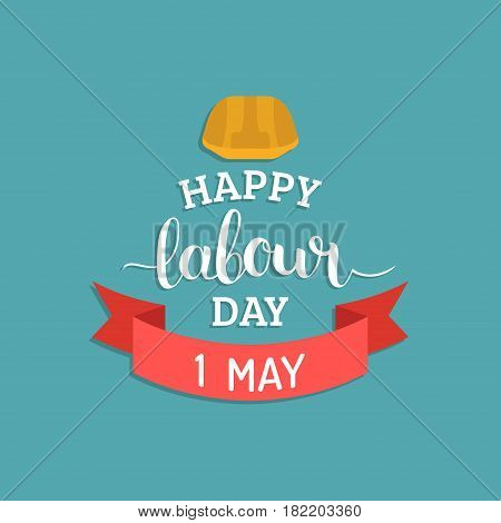 1st may lettering vector background. Happy Labour Day logo concept with helmet. International Workers day illustration for greeting card, poster design.