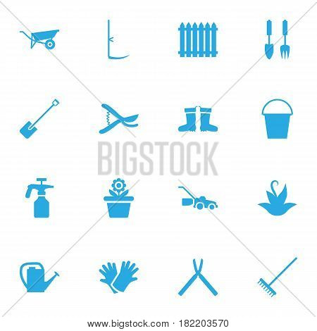 Set Of 16 Horticulture Icons Set.Collection Of Shovel, Pruner, Wheelbarrow And Other Elements.