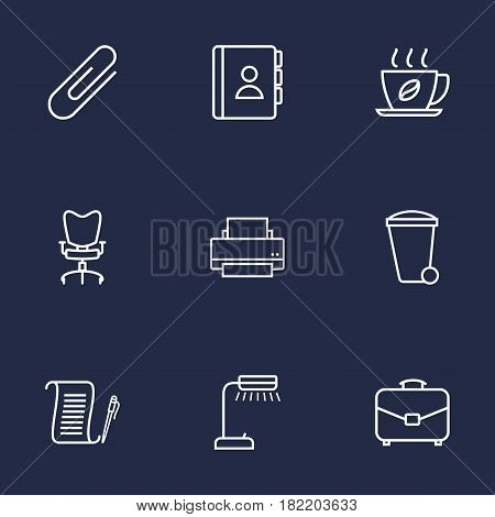 Set Of 9 Work Outline Icons Set.Collection Of Telephone Directory, Agreement, Workplace And Other Elements.