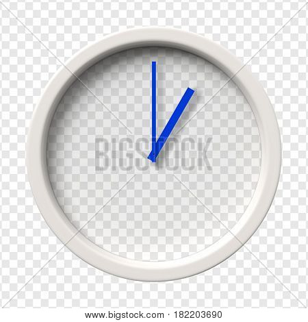Realistic Wall Clock. One oclock am or pm. Transparent face. Blue hands. Ready to apply. Graphic element for documents, templates, posters, flyers. Vector illustration.