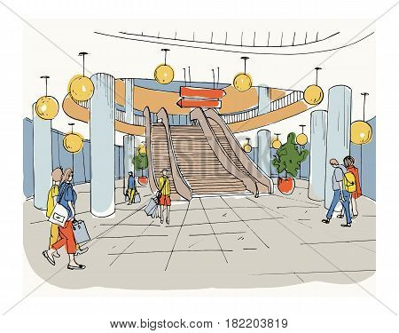 Modern interior shopping center, mall. Colorful sketch illustration