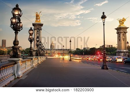 Alexander III bridge and view on Les Invalides in Paris, France