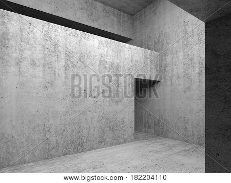 Open Doorway In Gray Concrete Walls, 3D Illustration