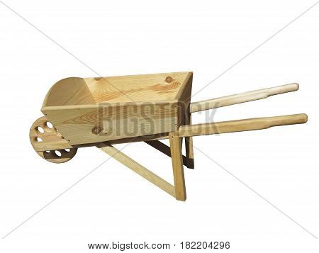 Empty wooden wheelbarrow cart for the garden isolated over white background