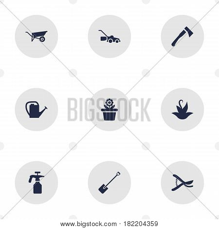 Set Of 9 Household Icons Set.Collection Of Lawn Mower, Spray Bootle, Wheelbarrow And Other Elements.