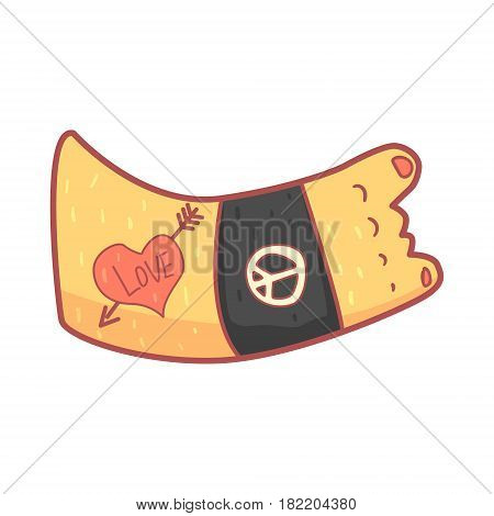 Hand making rocker sign wearing wristband. Colorful cartoon illustration isolated on a white background