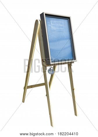 solar panel on wooden stand support isolated over white background.