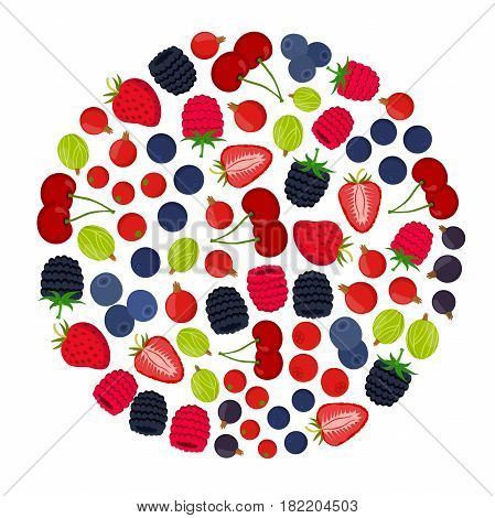 Cartoon berries menu. Raspberry, blackberry, gooseberry, red currant, black currant. Flat vector style.