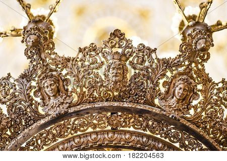 Russia Saint Petersburg October 10 2016: Carvings on a chandelier in Heritage museum Sankt Petersburg Russia.