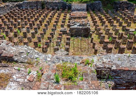 Hypocaust of the Great Baths complex in Dion archaeological park, Pieria, Greece.