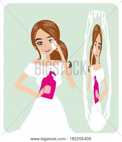 girl and Make up removing , vector illustration
