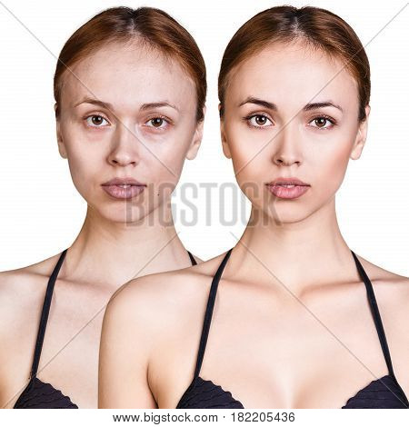 Comparison portrait of young woman without and with makeup