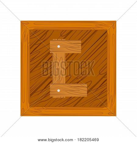 wooden alphabet C letter icon isolated on white background