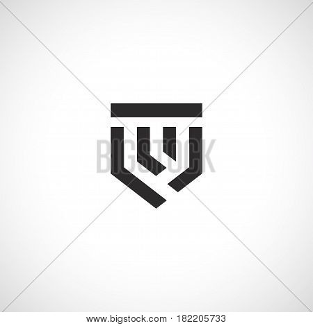 Isolated abstract medieval shield logo, coat of arms logotype on white background vector illustration.