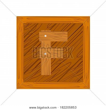 wooden alphabet F letter icon isolated on white background