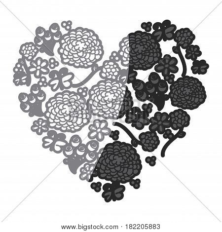 gray scale drawing silhouette vintage heart with pattern of flower and butterflies vector illustration