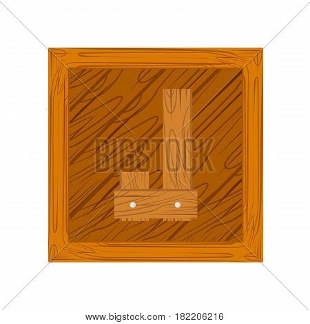 wooden alphabet J letter icon isolated on white background